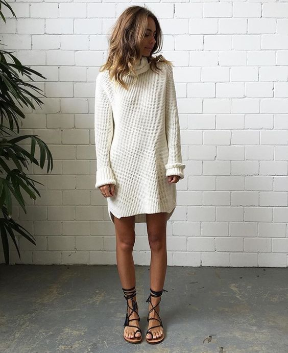 white-turtleneck-dress-and-sandals | White sweaters, White ...