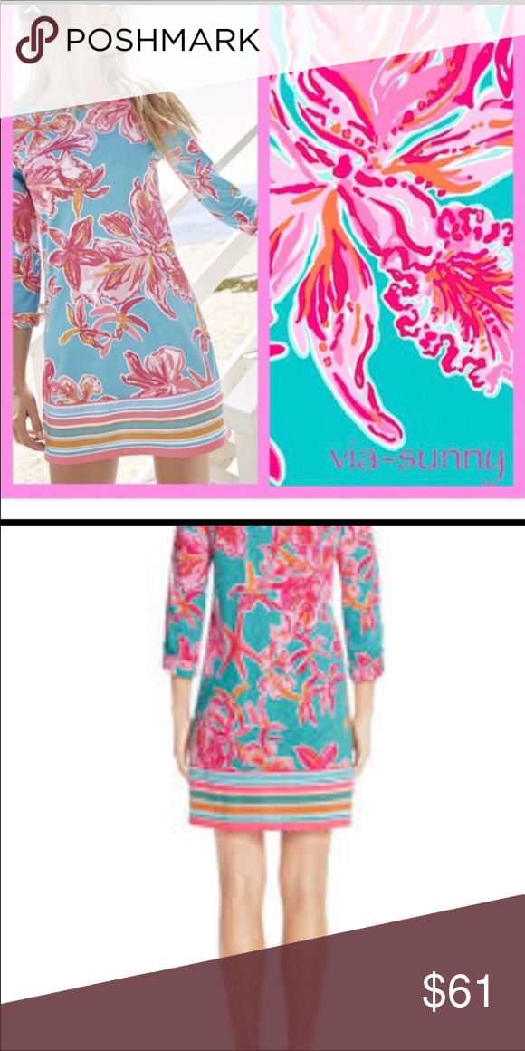 """7700befa208e29 Lily Pulitzer Seconds Linden Dress Great Quality """"Seconds"""" 100% Pima Cotton  Style: Sea Blue Via Sunny Second picture shows the real color of the dress  I ..."""