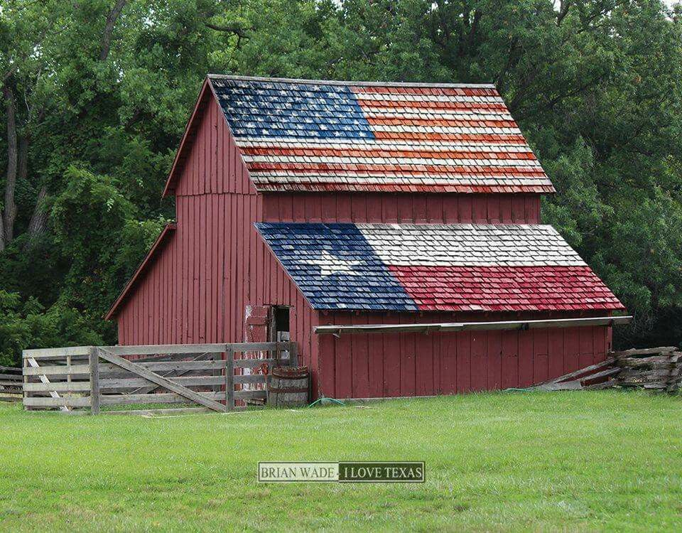 Flag barn in the great state of Texas …   American barn ...