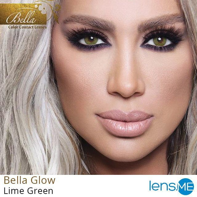 The New Bella Glow Collection By Bella And Maya Diab Maya Is Wearing Lime Green Credits Of This Contact Lenses Colored Best Colored Contacts Beauty Blogger