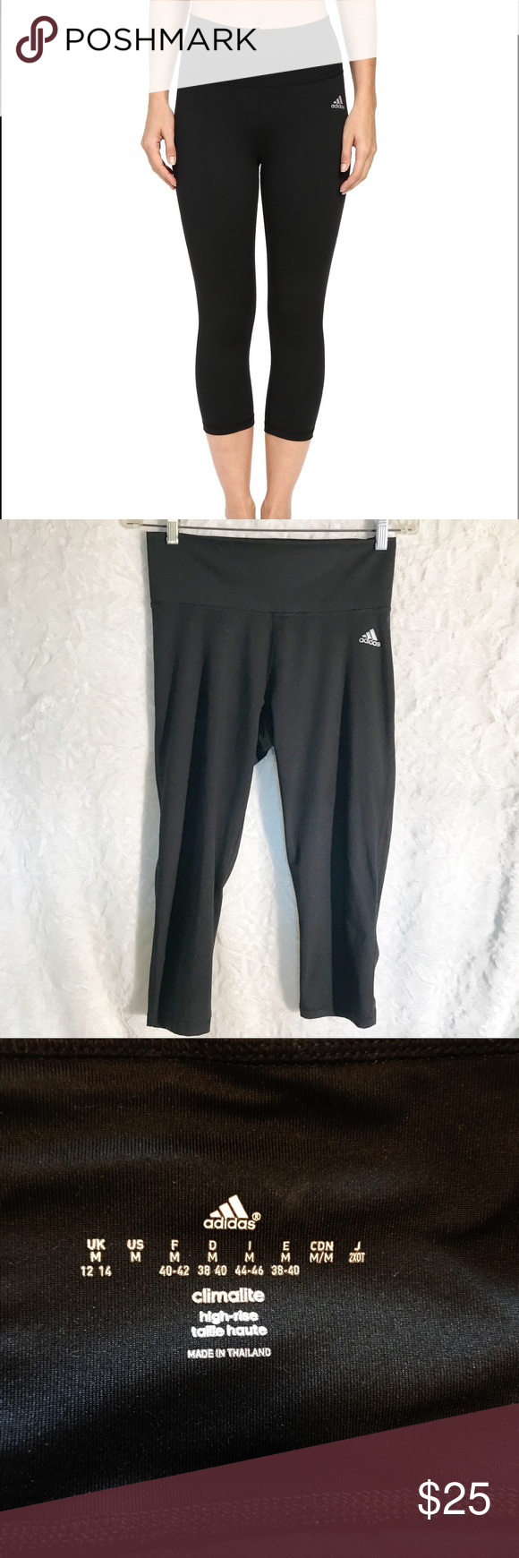 4d3ac137e4a224 Adidas Women's Performer High-Rise 3/4 Tights EUC, fitted design, wide  elastic band, climalite fabric helps pull moisture away from the skin.