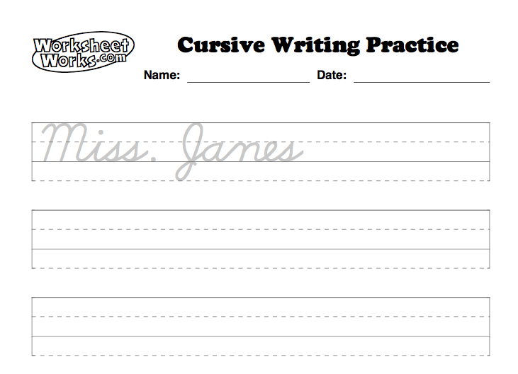 Personalized cursive worksheets so each student can practice ...