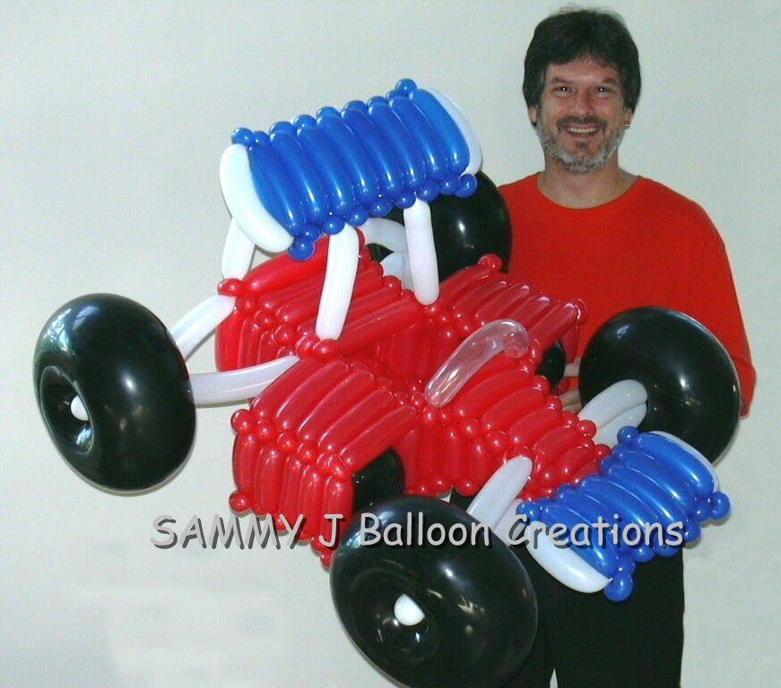A Big Race Car Balloon Sculpture Www Sammyjballoons Com Balloons Balloon Sculptures Balloon Cars