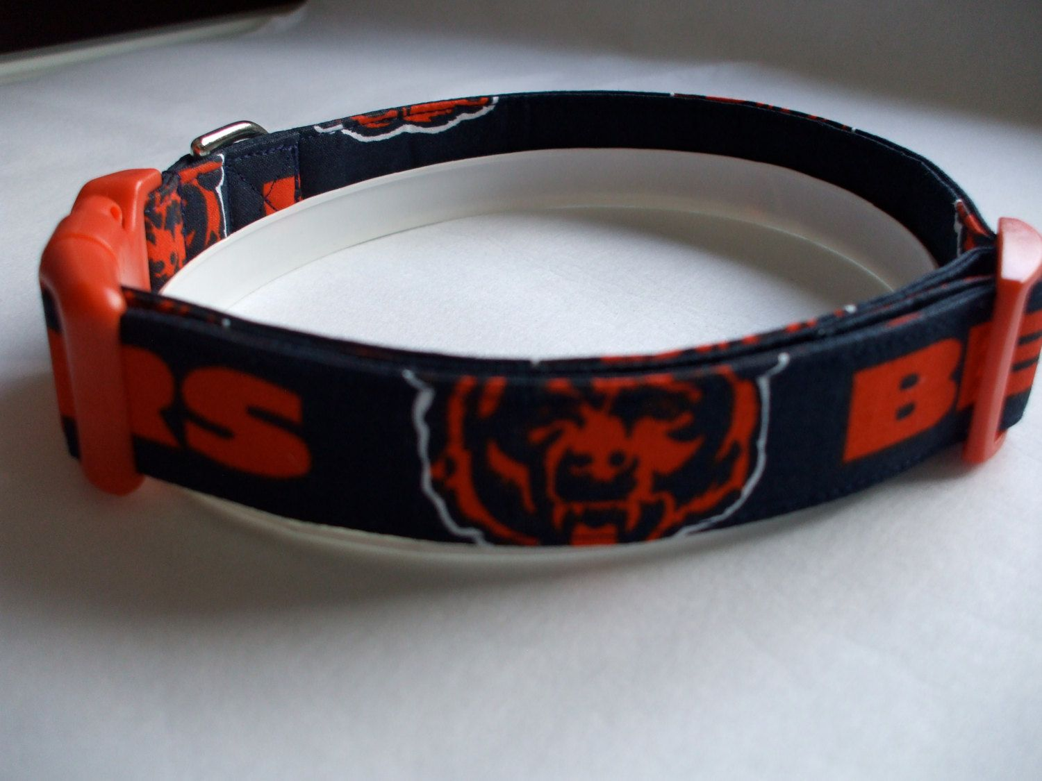 Handmade Cotton Dog Collar - Chicago Bears Fabric #2 by WalkingTheDog on Etsy