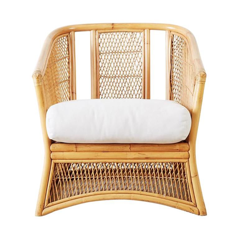 Midcentury bamboo rattan wicker lounge chair see more