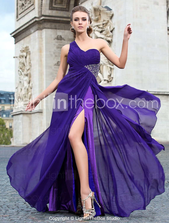 Sheath/Column One Shoulder Floor-length Chiffon Evening Dress - USD $ 117.99