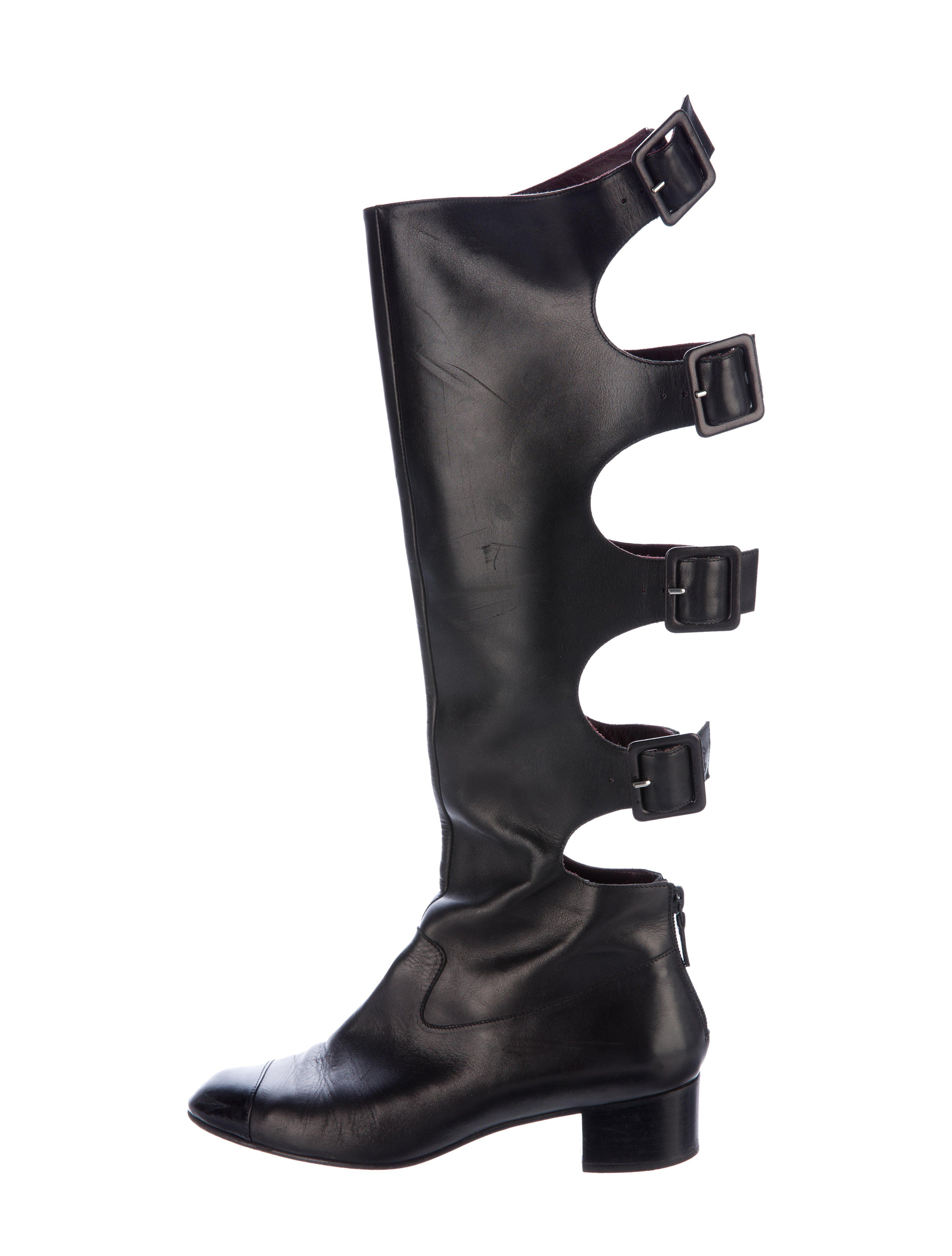 chanel knee high boots. chanel knee-high cutout cc boots knee high