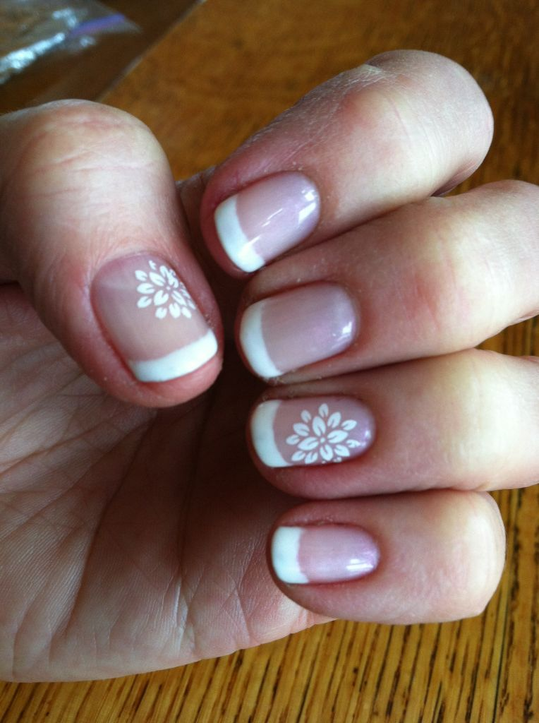 French Manicure Flower Nail Art White Fun Designs