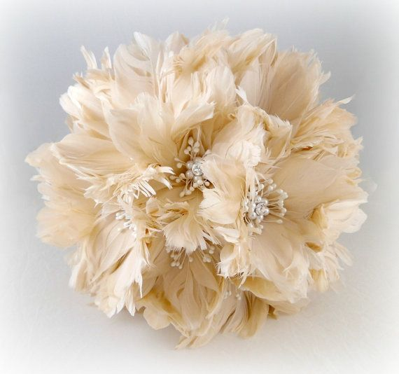 Wedding Bouquet, Bridal Bouquet, Feather Bouquet, Brooch Bouquet, Ivory, Champagne, Silver. Lilly Bouquet