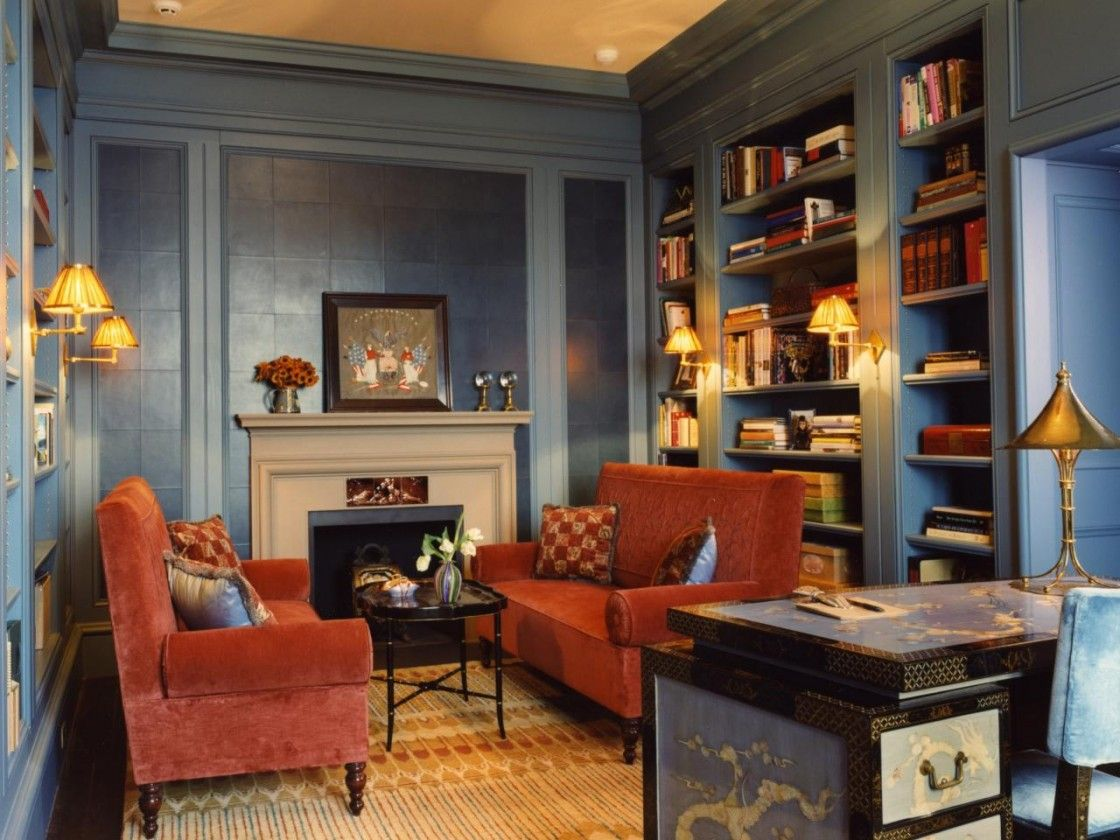 traditional living room design with blue painted wooden wall
