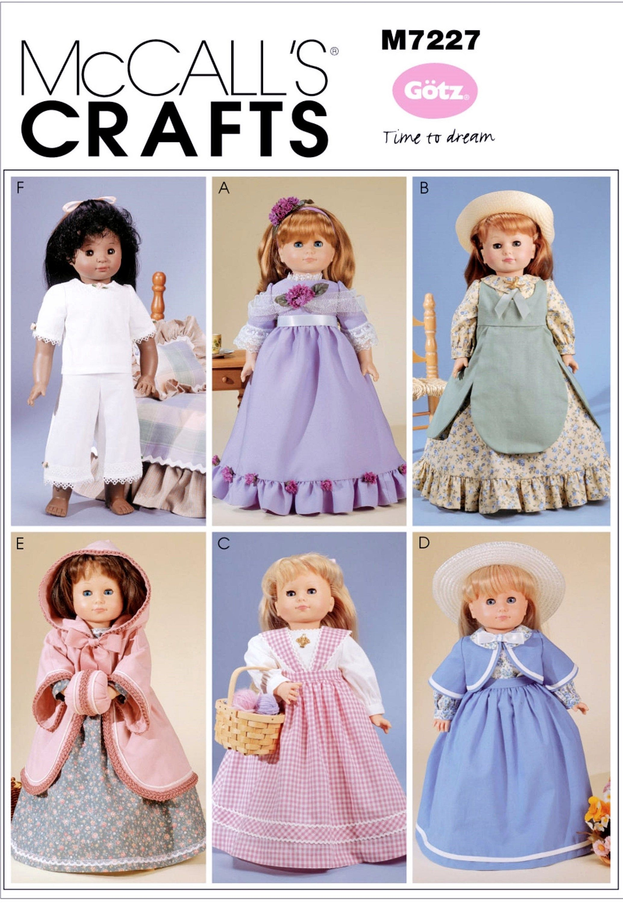 Sewing Pattern 18 inch Historical Doll Clothes Pattern, Doll Pantaloons Pattern, Prairie Dress Pattern, McCall's Sewing Pattern 7227 #instructionstodollpatterns
