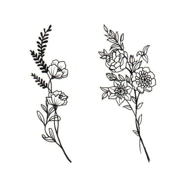 Line Art Flower Tattoo : Really liking these flowers … pinteres…