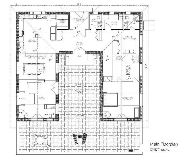 7a1b454b9db19366718954f208ed7e46 bale hacienda strawbale house plan i'd move some stuff around,Courtyard Style Home Plans