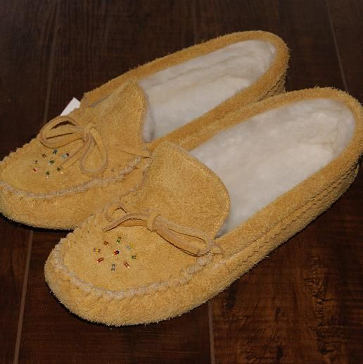 3eb0874494e Women s Soft Sole Genuine Moosehide Suede Leather Moccasin Slippers - 402