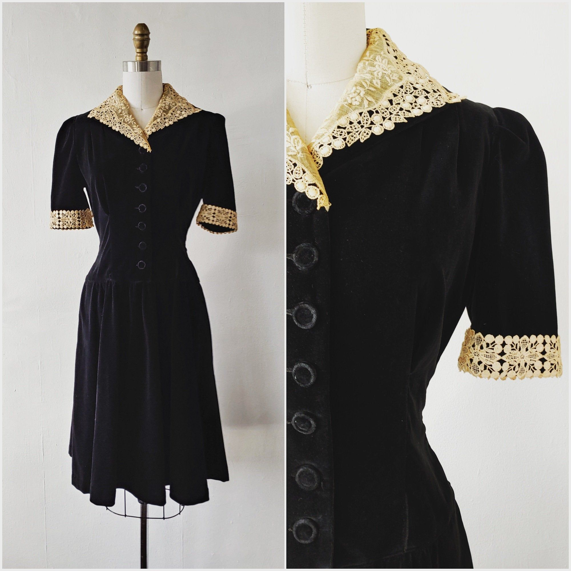 1930 Black Velvet Dress Vintage 1930s Black Velvet Dress With Ecru Lace Size Small Vintage Black Dress Black Velvet Dress Vintage Black Dress Evening Dresses Vintage [ 2000 x 2000 Pixel ]
