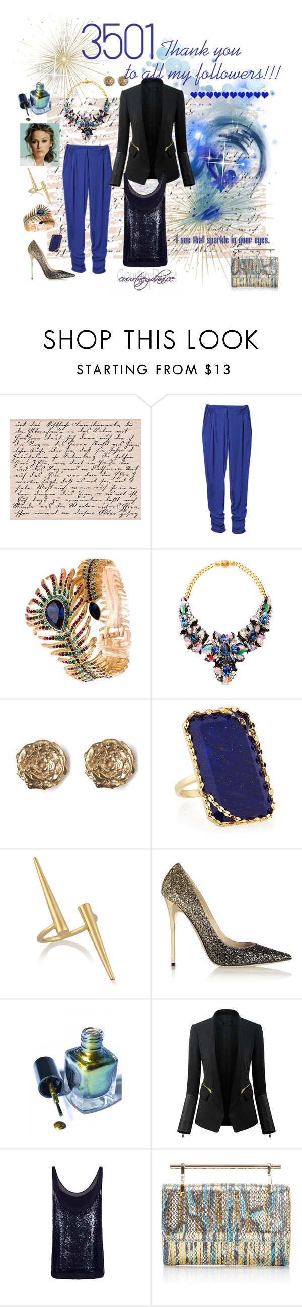 """3501"" by courtneydanice ❤ liked on Polyvore featuring Shourouk, LeiVanKash, Lana, Jennifer Fisher, Jimmy Choo, Cirque Colors, Chicsense, AllSaints and M2Malletier"