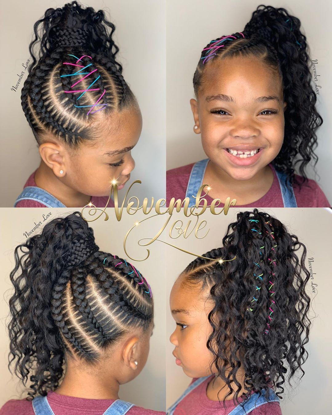 Boho Large Feed In Ponytail Booking Link In Bio Ghanabraids Curlybraids Bohemianbraids Childrensbra Hair Styles Feed In Ponytail Girls Natural Hairstyles