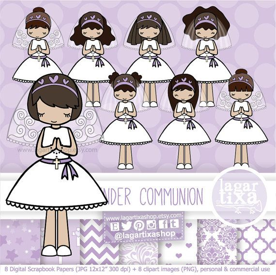 brunette girl first holy communion lavender lilac violet purple rh pinterest com First Communion Cross First Communion Banners