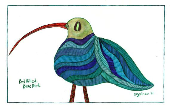 Red-Billed Blue Bird named Veronica. A whimsical by SusanGainen