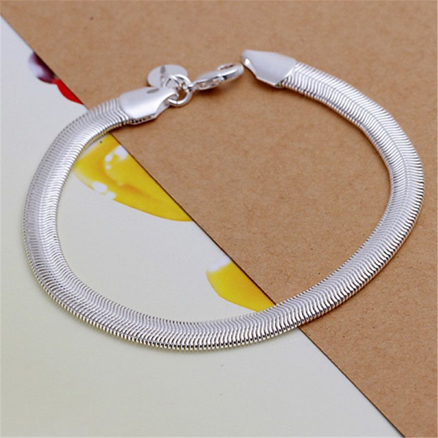 Silver plated jewelry simple mm flat snake bracelets new women lady