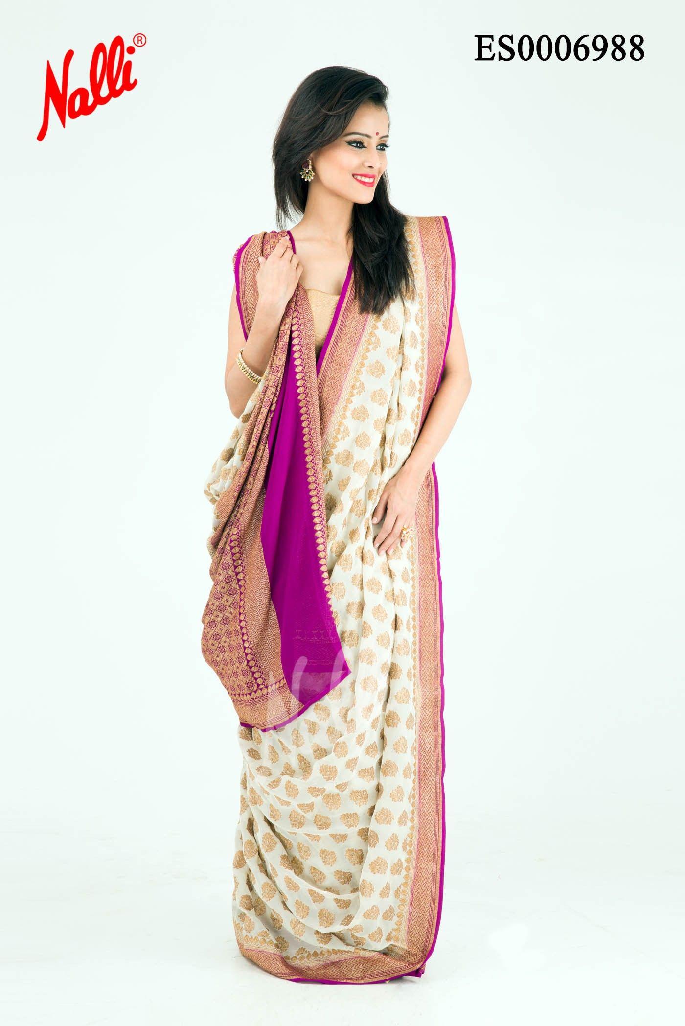 Cream Banaras Georgette Saree | Shaadi, byah, etc | Pinterest ...