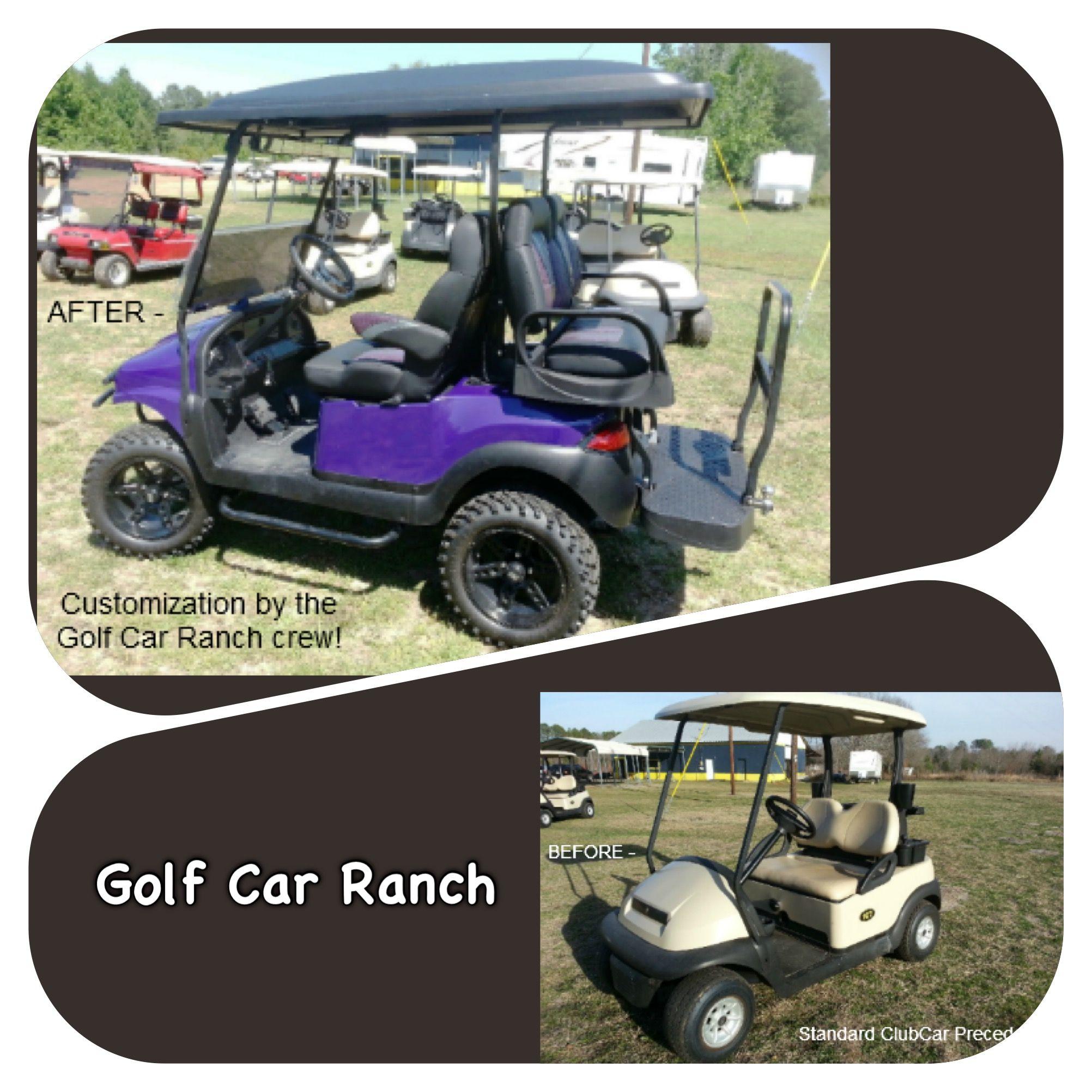 Purple Phantom Custom Car With Max 5 Seats Customized By The Golf Car Ranch Crew Golf Car Custom Golf Golf Carts