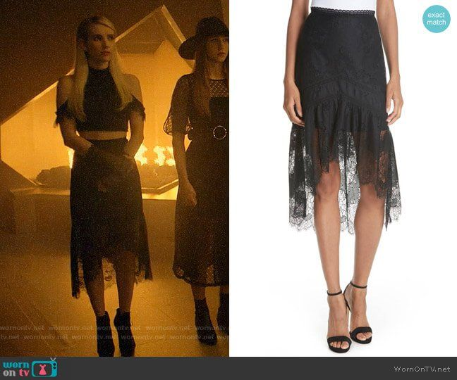60bae61a1500a3 Madison s black lace cold-shoulder crop top and skirt on American Horror  Story Apocalypse in 2019