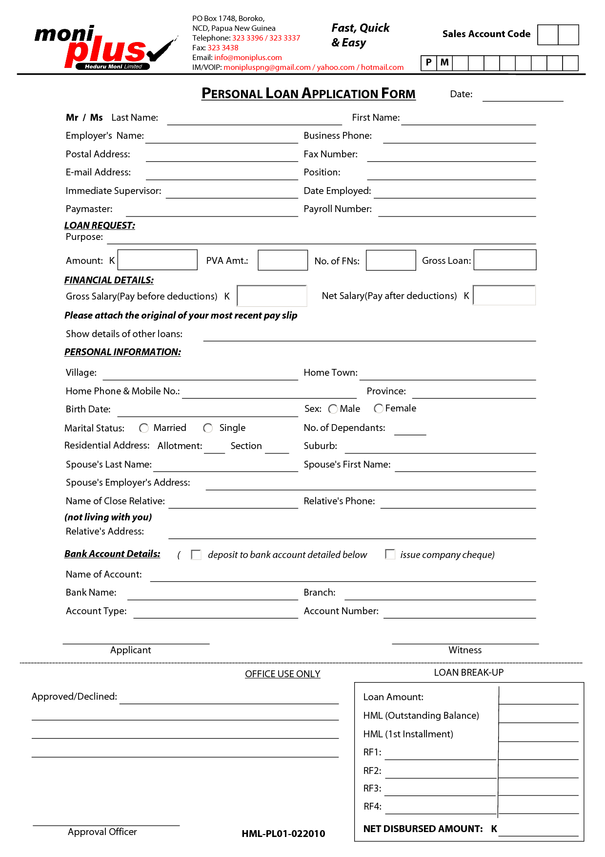 Printable Sample Personal Loan Contract Form  Private Loan Contract Template