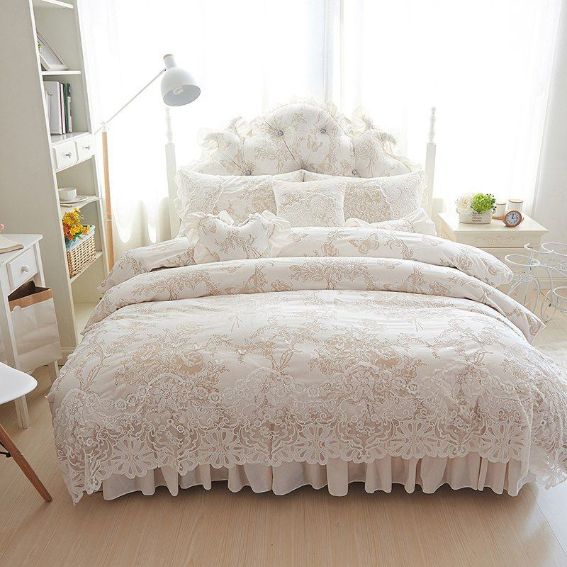 4 6 8pcs Princess Style Winter Bedding Set White Bed Skirt Lace