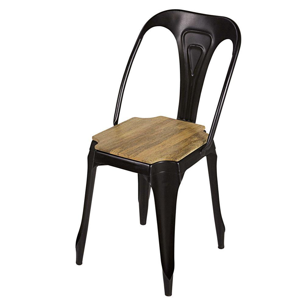 Industrial Matte Black Metal and Mango Wood Chair   Industrial