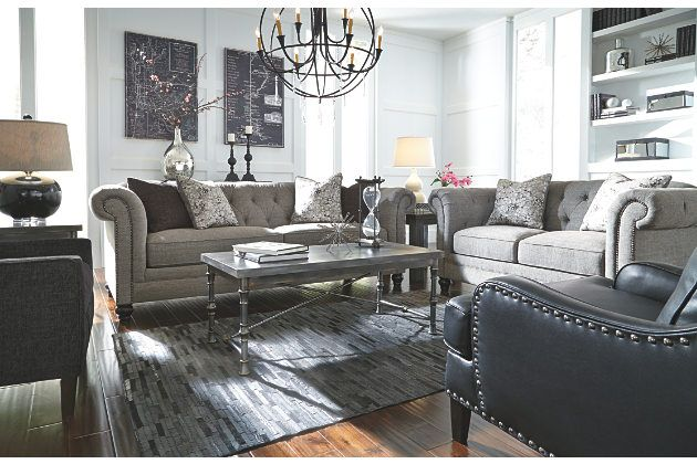 Best Classic Chesterfield Style Charcoal Gray Loveseat And Sofa 400 x 300