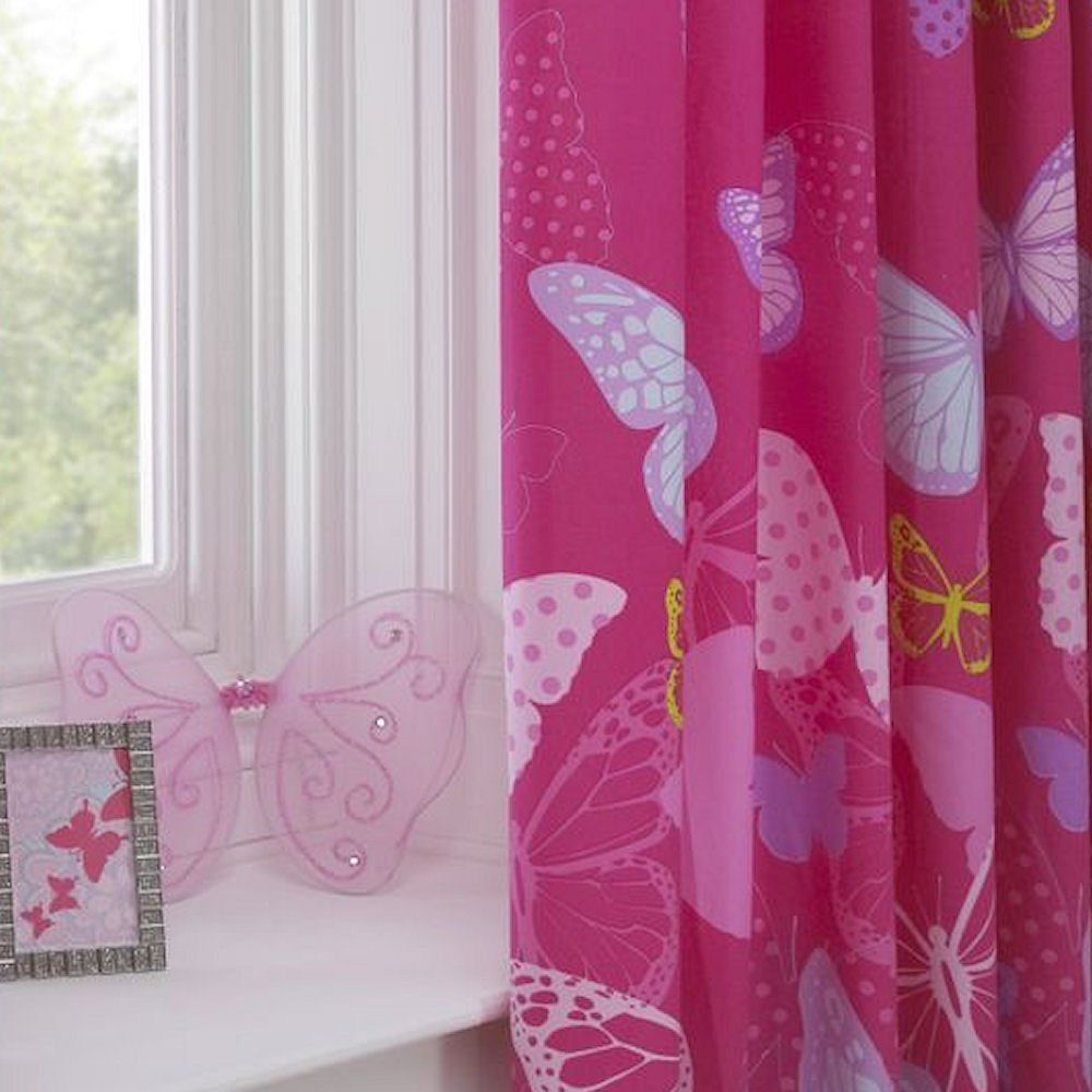 Kitchen Curtains Amazon Co Uk: Butterfly Pink Lilac Yellow 66X54 Pencil Pleat Fully Lined