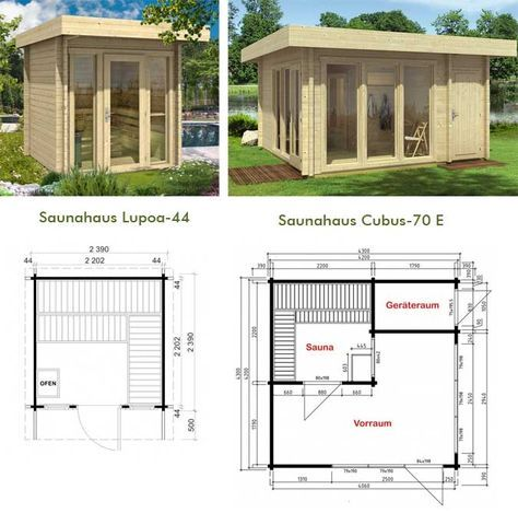 zwei Saunahäuser im GrundrissVergleich Sauna design