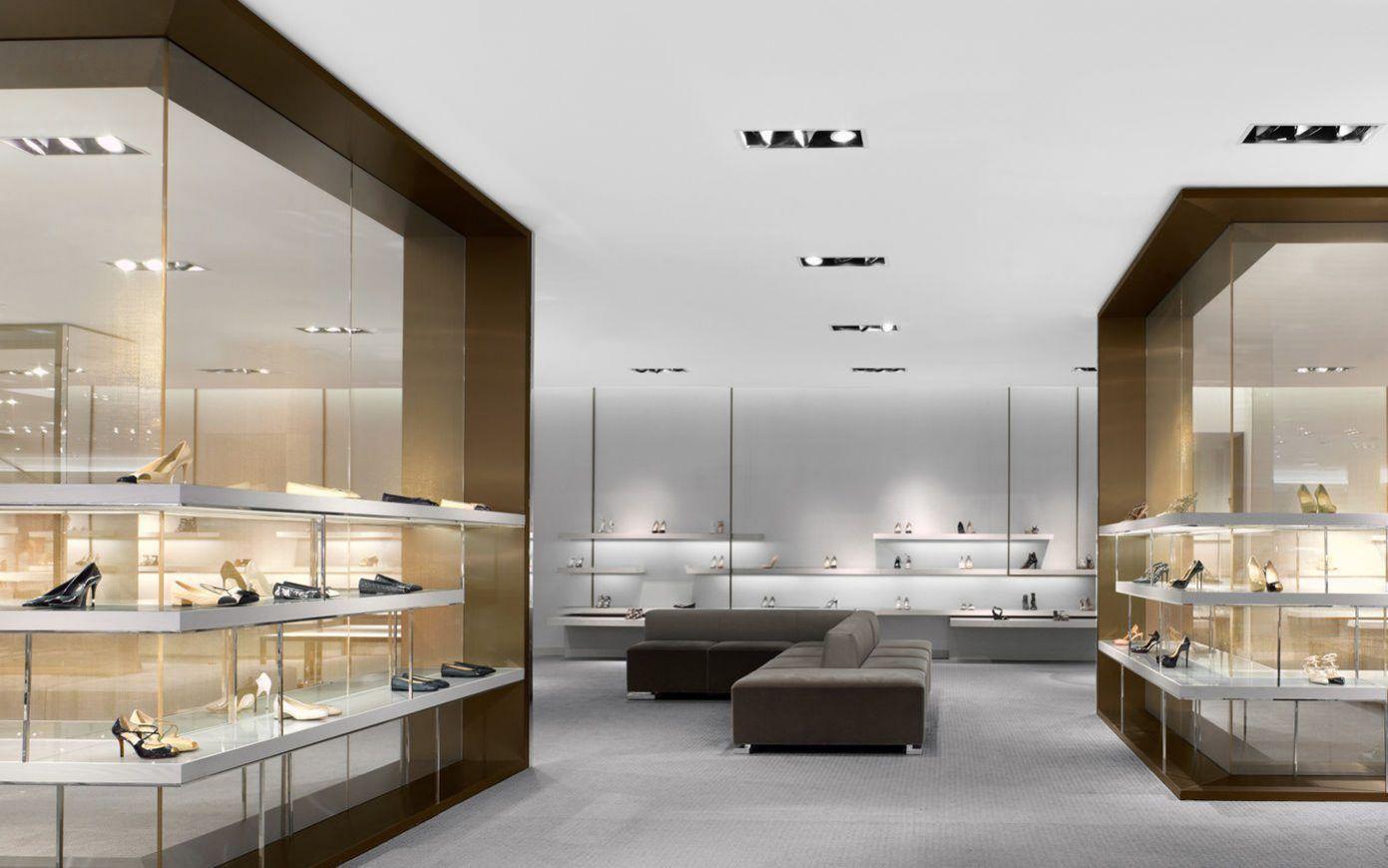 Wooden Footwear Store Design Showcase Display Furniture Boutique