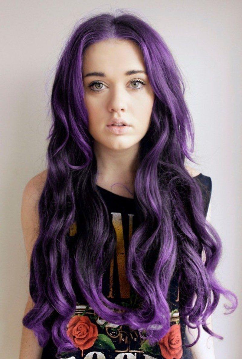 Purple hair u brightcolored hair is in hairstyle trends