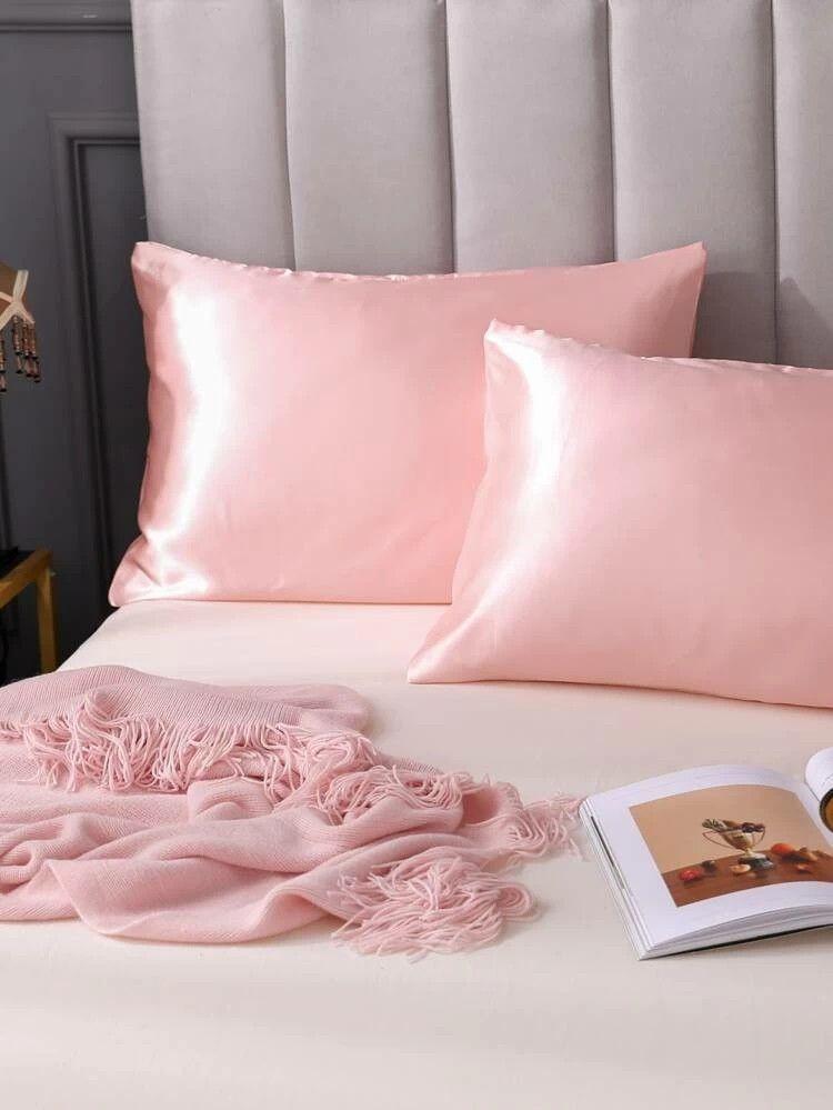 1pair plain satin pillowcase satin