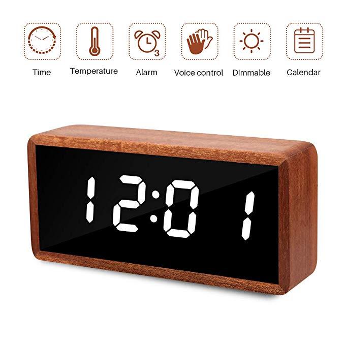 Amazon Com Micar Digital Alarm Clock Solid Wood Led Desk Alarm Clock With Large Display Usb Charging Port Desk Alarm Clock Alarm Clock Digital Alarm Clock