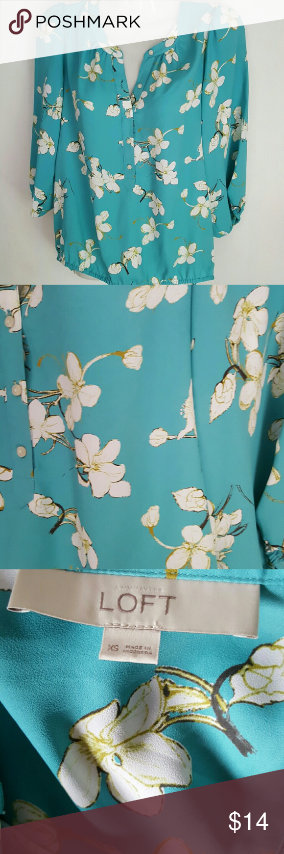VERY PRETTY ANN TAYLOR LOFT BLOUSE Beautiful colors! Aqua, white, olive. Polyester  Size xsmall Elastic waistband and cuffs Perfect for this time of year Comes from a smoke free home  BUNDLE & SAVE Ann Taylor Tops Blouses