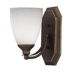 Bathroom Light with Art Glass in Aged Bronze Finish