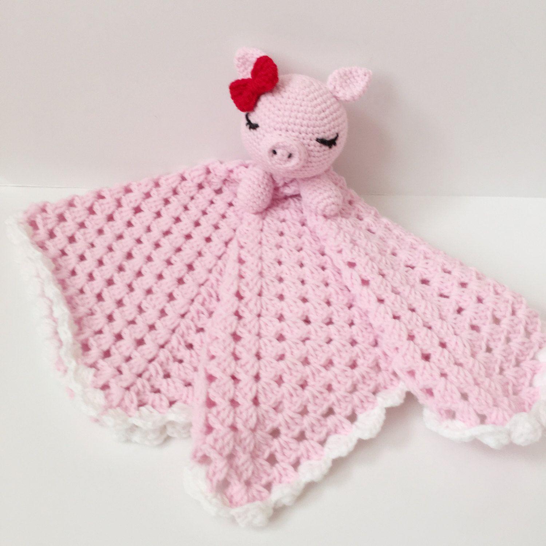 Crochet Baby Blanket Security Snuggle Blanket Crochet Pig Plush Pink ...