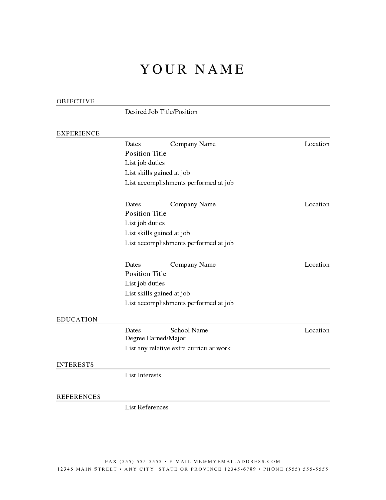 free fill in resume