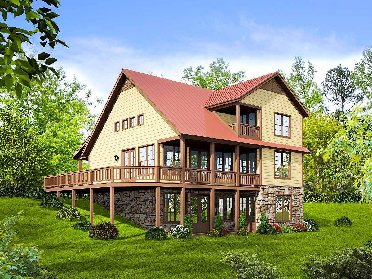 Plan 68415vr For The View Lot With Room To Grow In 2021 Mountain House Plans Cottage Floor Plans Country Style House Plans