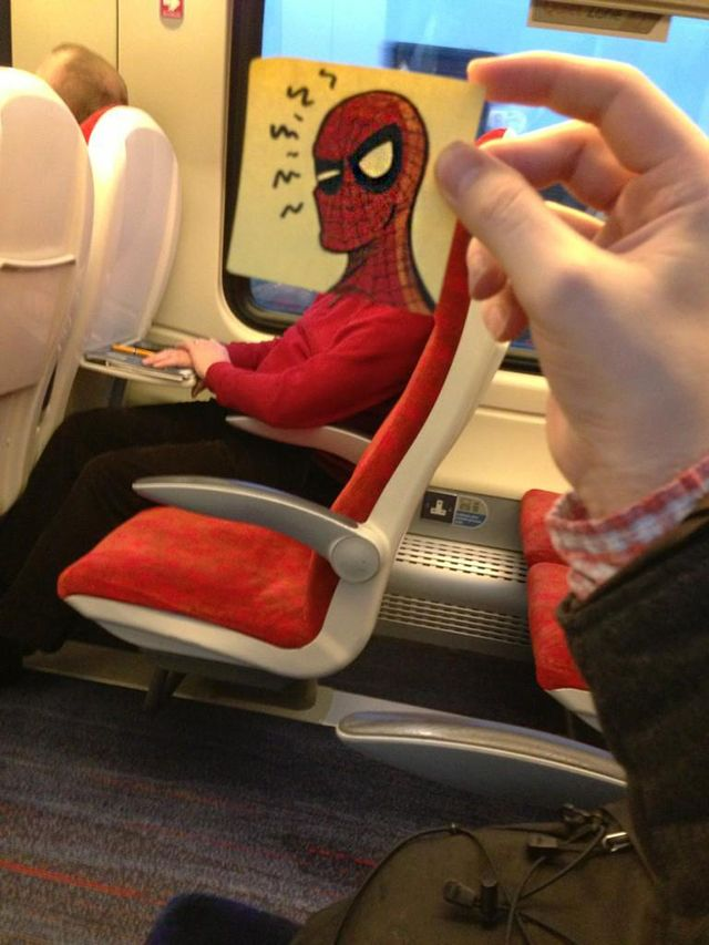 Illustrator October Jones spruces up the daily train commute by turning fellow passengers into funny cartoon characters with his post-it note doodles.