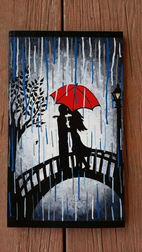 Silhouette Painting Of Couple In The Rain Handpainted By KayzAttic