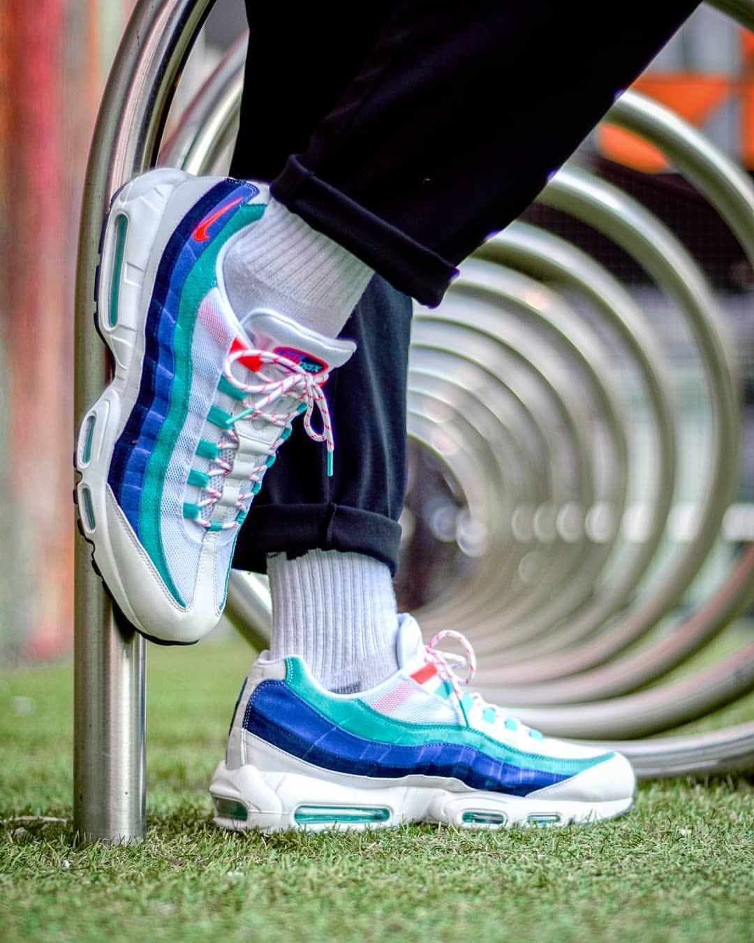 4ac3fc14f9 Nike Air Max 95: Flash Crimson & Hyper Jade. Find this Pin and more on Nike  shoes ...