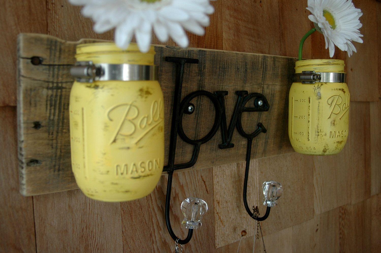 Yellow Love board with hooks and mason jars wall decor. $37.00, via ...