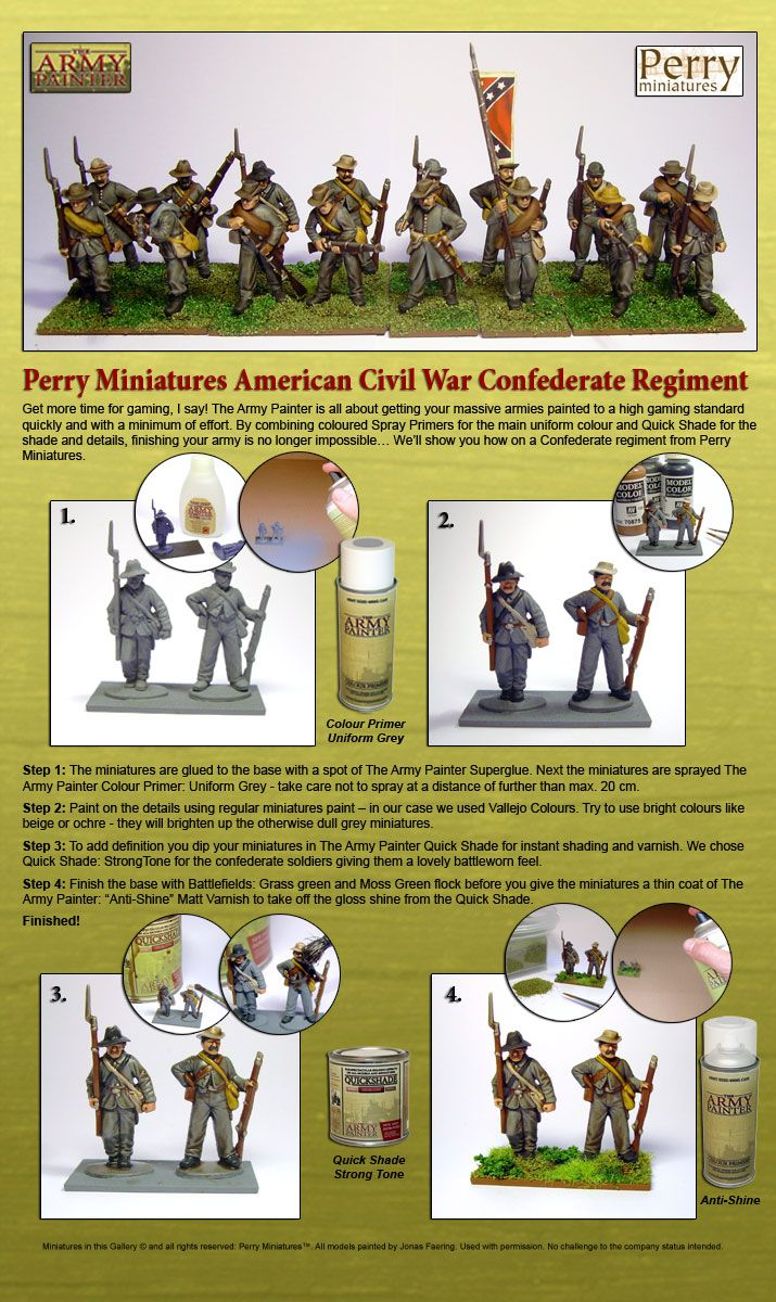 the army painter perry miniatures acw confederate infantry techniques trucs et astuces pour. Black Bedroom Furniture Sets. Home Design Ideas