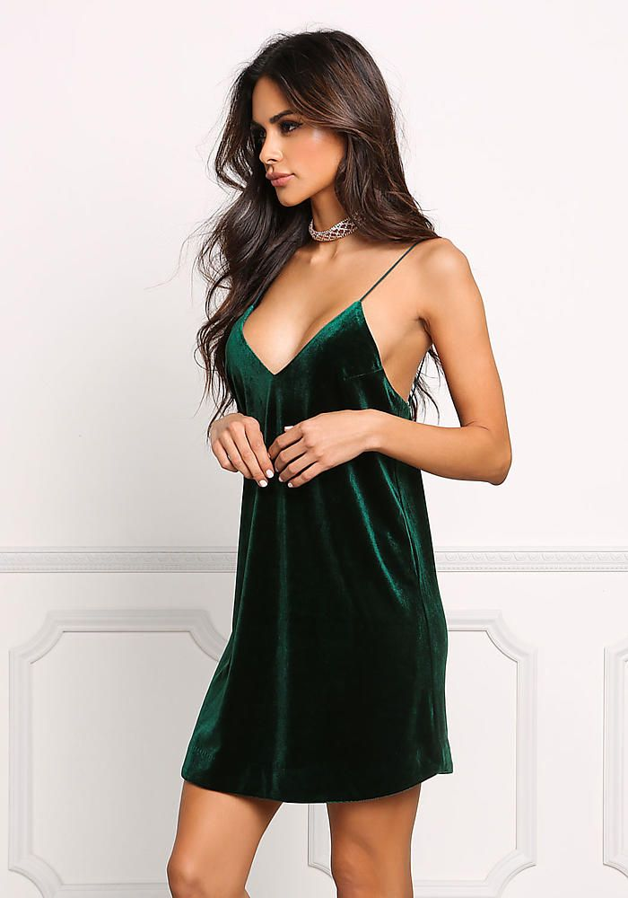 2e5031db9416 Hunter Green Velvet Plunge Slip Dress | Sophia Miacova in 2019 ...