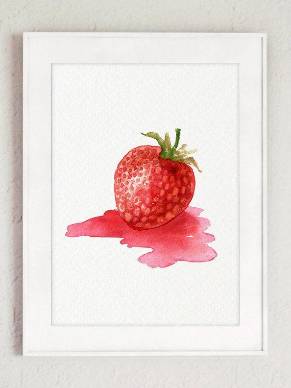 Idées cadeaux femmes Clipart fraise rouge Peinture abstraite