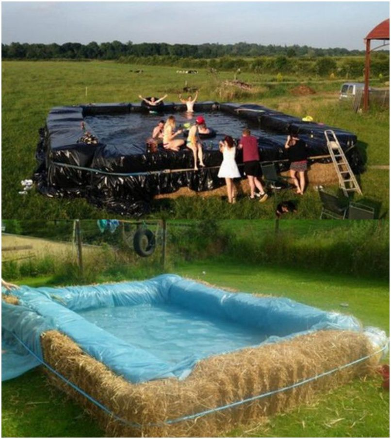 Build A Swimming Pool With Straw Bales Building